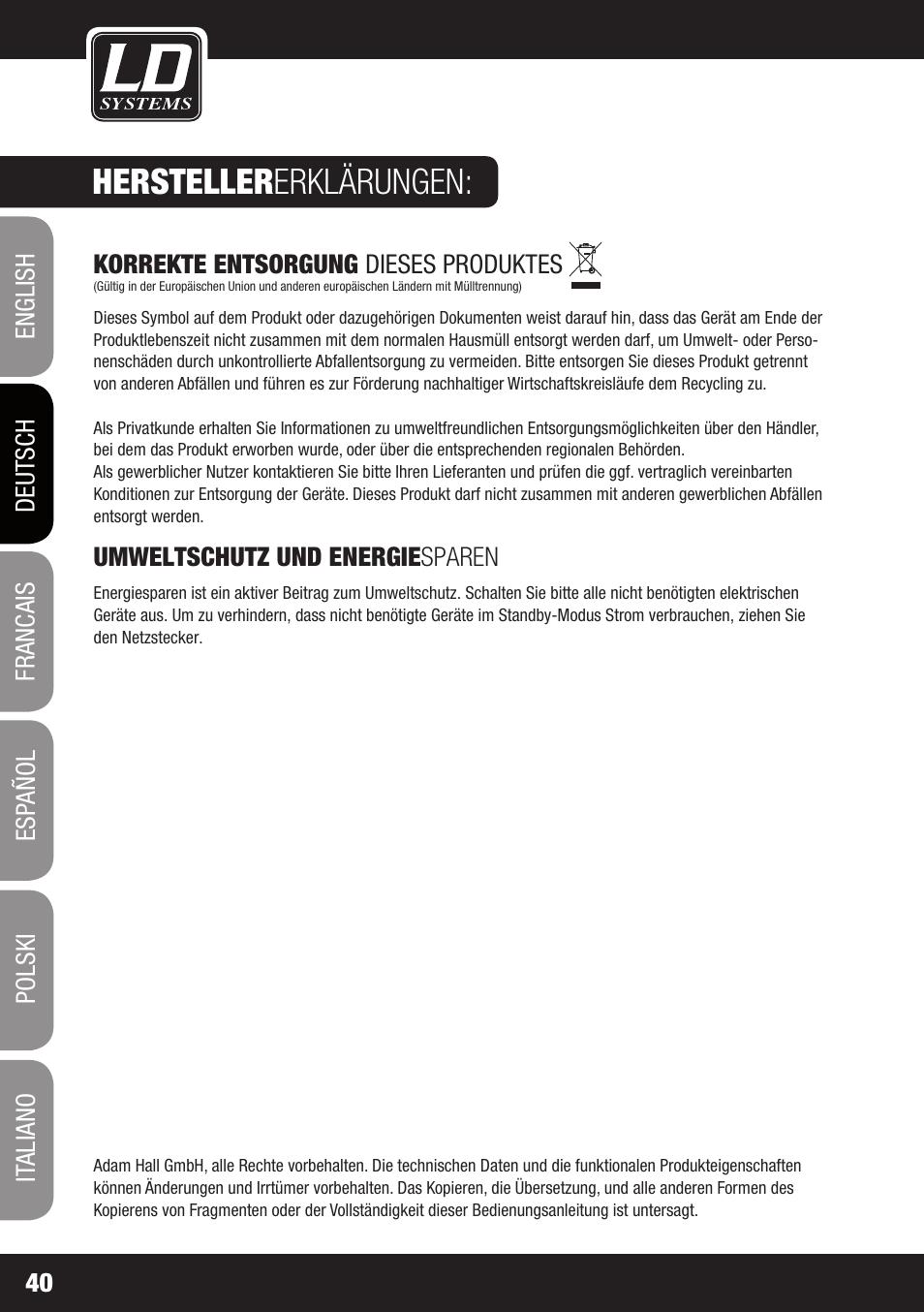 Hersteller erklärungen   LD Systems MAUI 28 MIX User Manual   Page ...