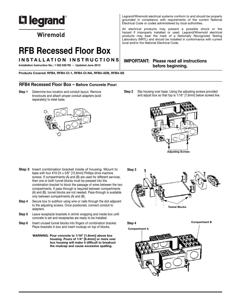 Wiremold Floor Bo Rfb4 Ci 1 Carpet Vidalondon