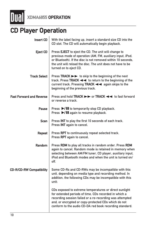 cd player operation dual xdma6855 user manual page 10 24 rh manualsdir com