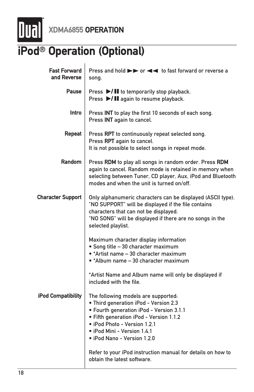 ipod operation optional dual xdma6855 user manual page 18 24 rh manualsdir com