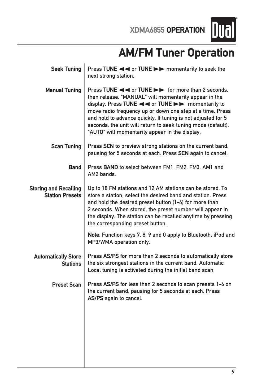 am fm tuner operation dual xdma6855 user manual page 9 24 rh manualsdir com