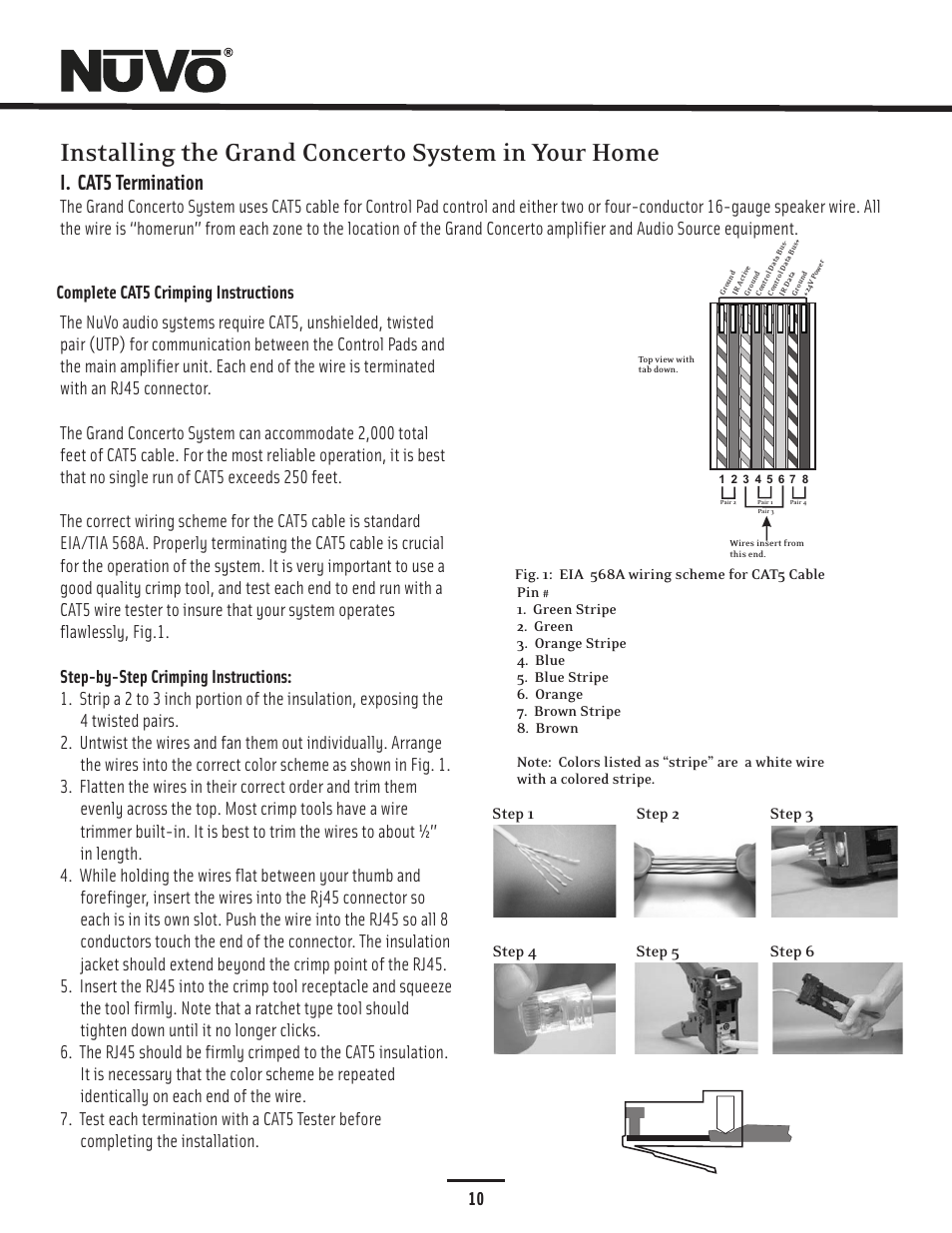 Installing The Grand Concerto System In Your Home I Cat5 How To Terminate Cable Termination Nuvo Essentia Nv E6gxs User Manual Page 14 48