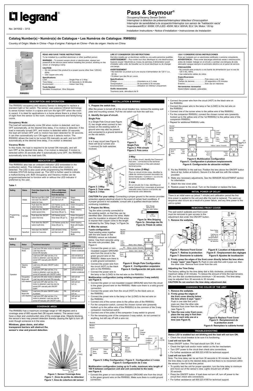 Legrand RW600U User Manual | 2 pages on