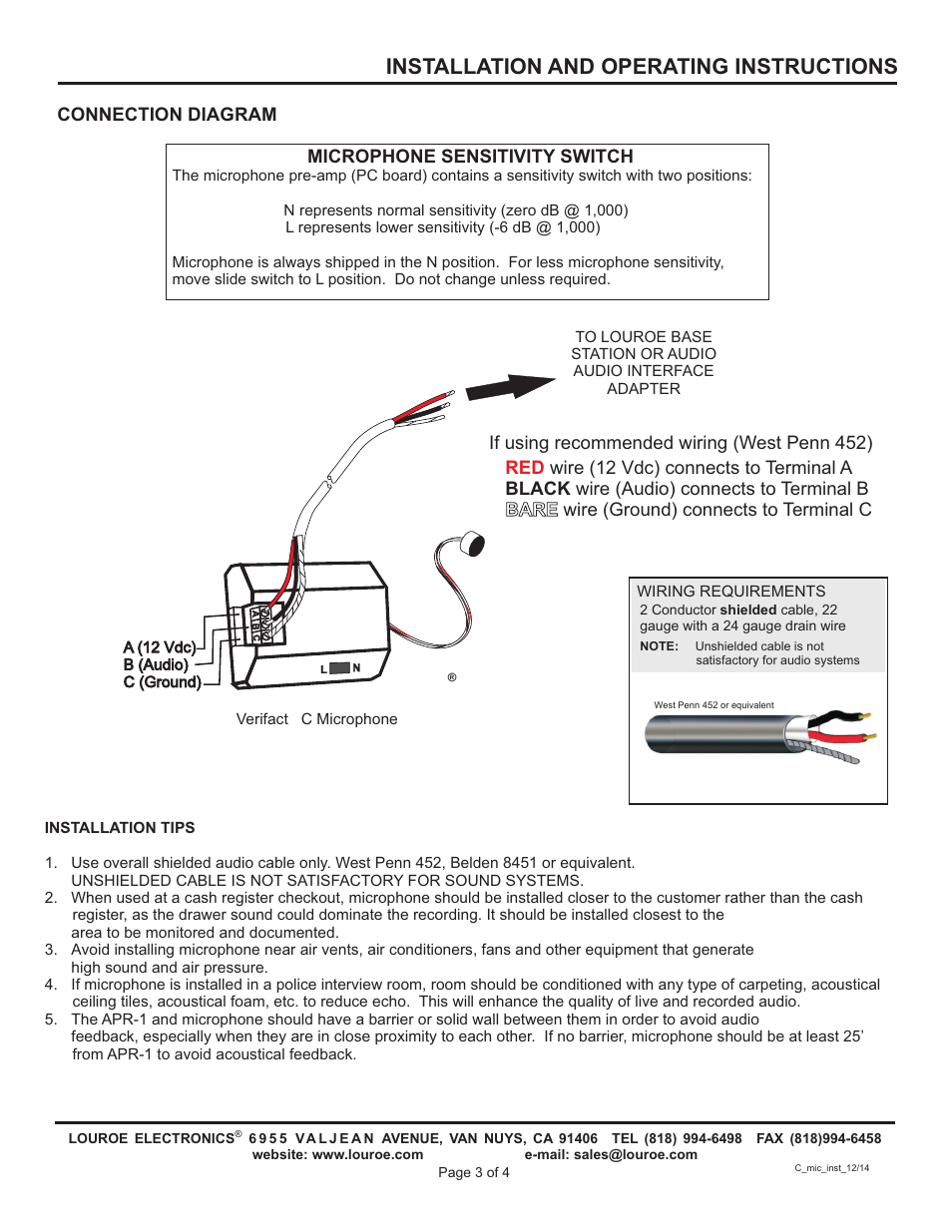 Installation And Operating Instructions Connection Diagram Louroe Wiring For Slide Switch Electronics Le 072 User Manual Page 3 4