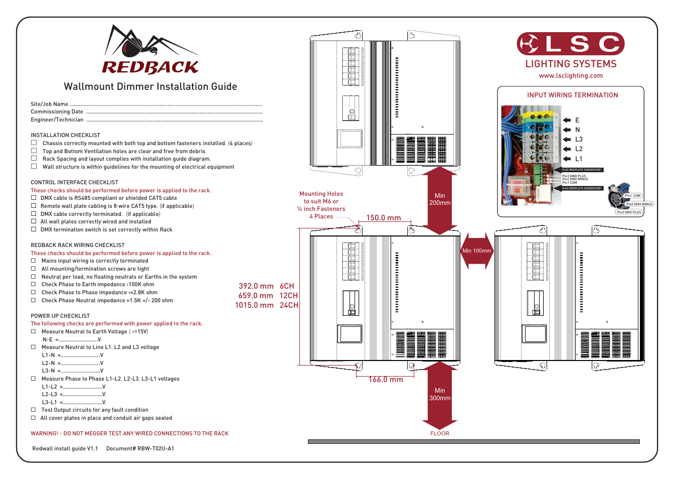 Lsc Lighting Redback Wallmount Install Guide V11 User Manual 1 Page How To Terminate Cat5 Cable