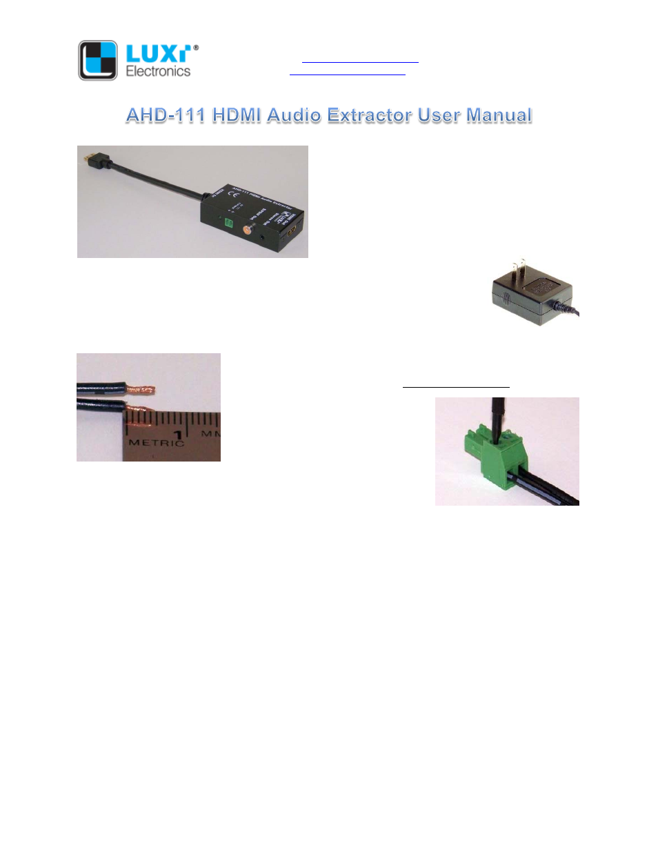 Luxi Electronics Ahd 111 User Manual 2 Pages Do All Hdmi Wiring Schematic