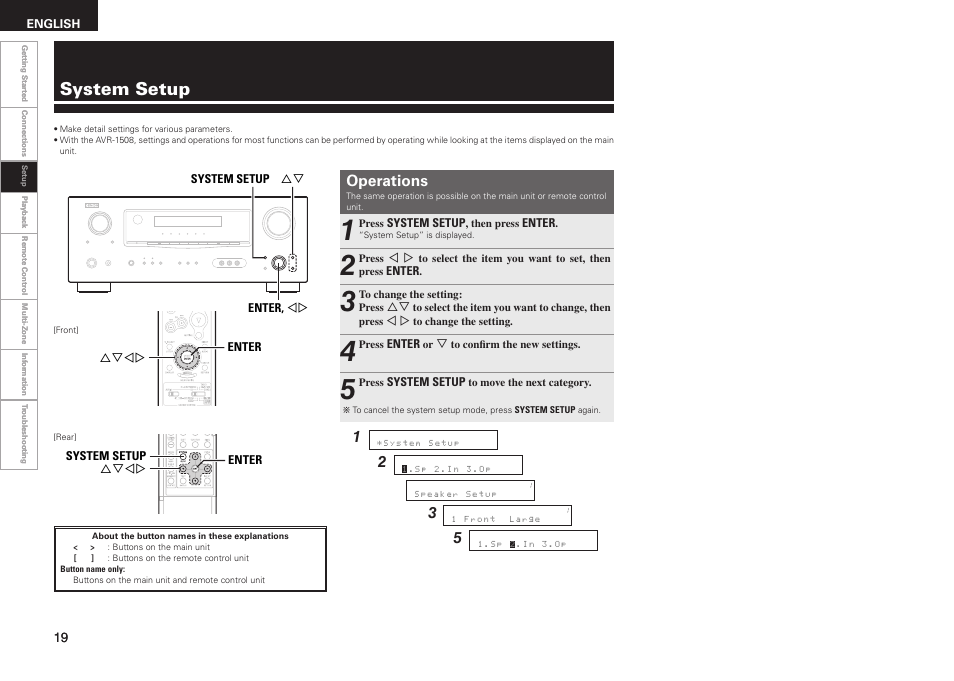 system setup operations denon avr 1508 user manual page 22 62 rh manualsdir com manual amplificador denon avr-1508 denon avr 1508 manual pdf