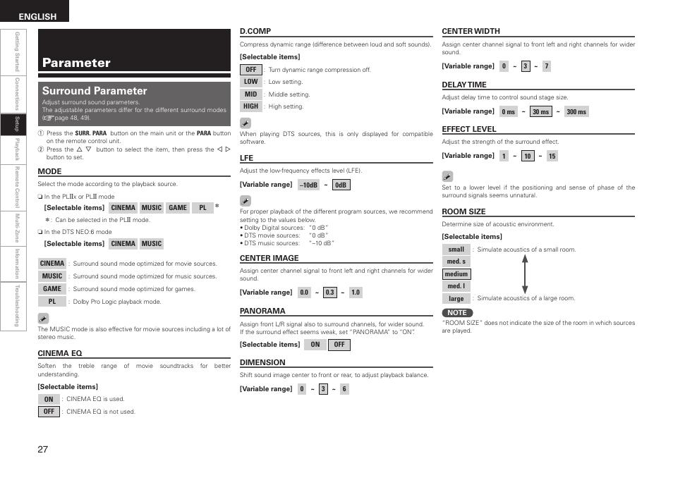Parameter, Surround parameter | Denon AVR-1508 User Manual | Page 30