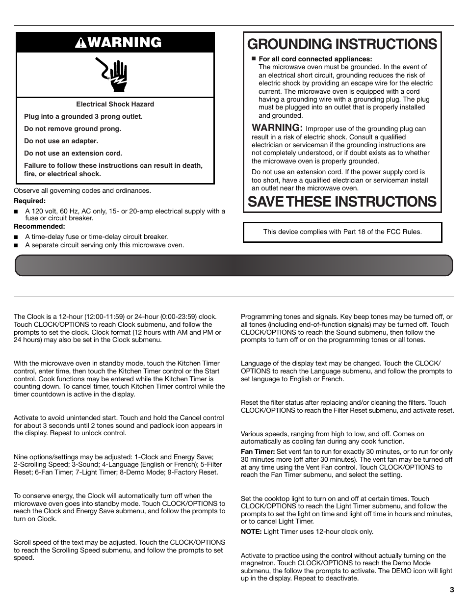 Electrical Requirements Operating Your Microwave Oven Settings Timedelaycircuit Maytag Mmv5219ds User Manual Page 3 6