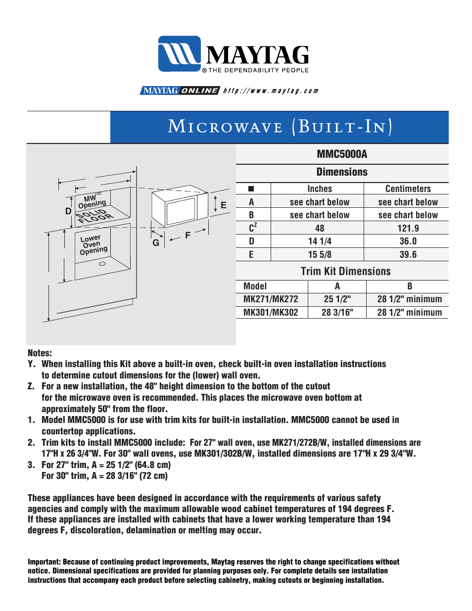 Maytag Mmv5000ada Dimension Guide User Manual 1 Page