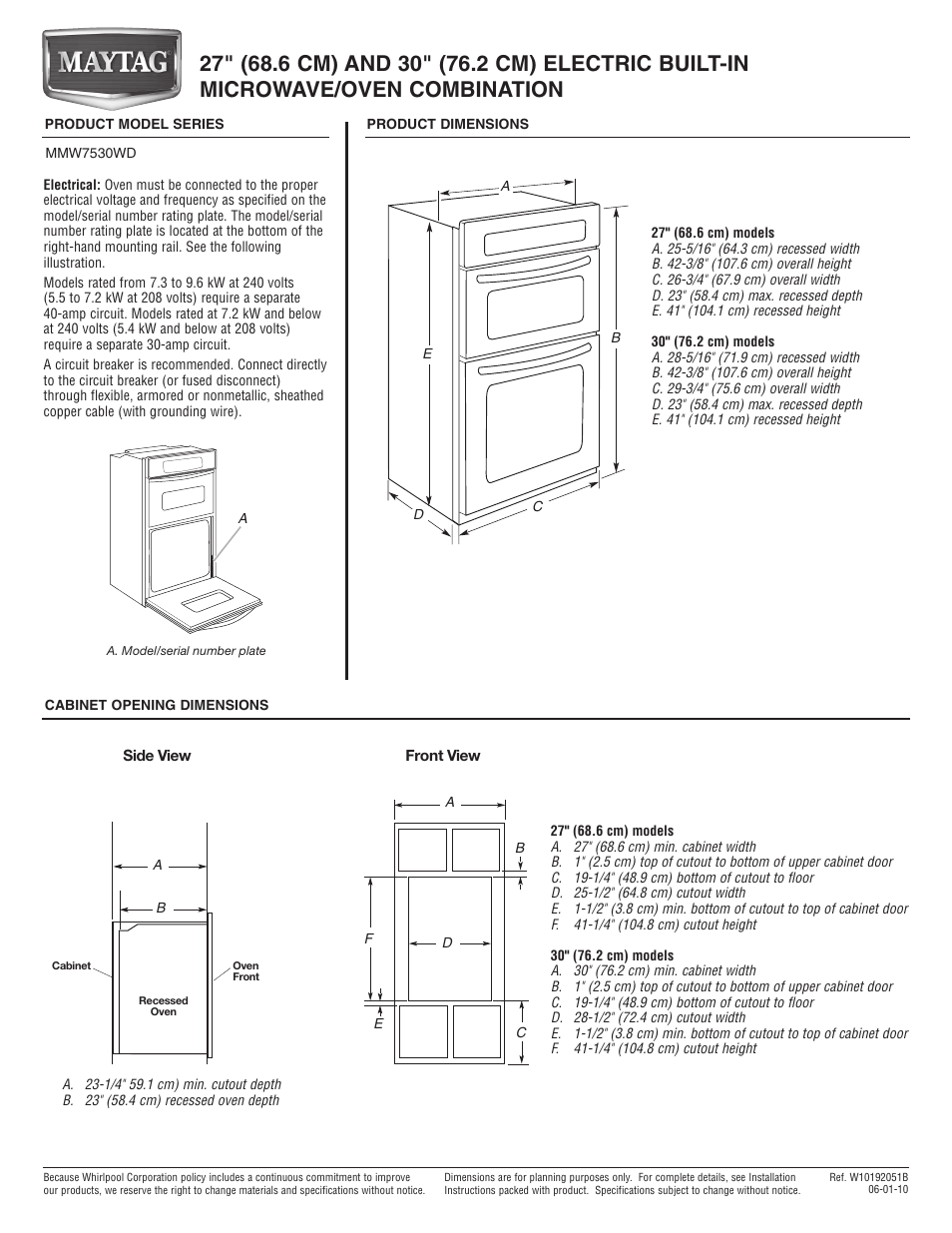 Maytag Mmw7530wds Dimension Guide User Manual 1 Page Also For Microwave Wiring Diagram Mmw7530wdw
