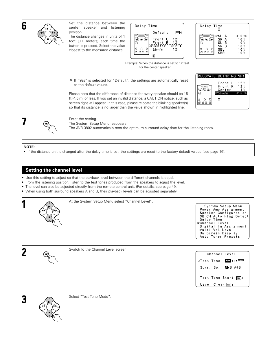 Setting the channel level | Denon AVR-3802 User Manual