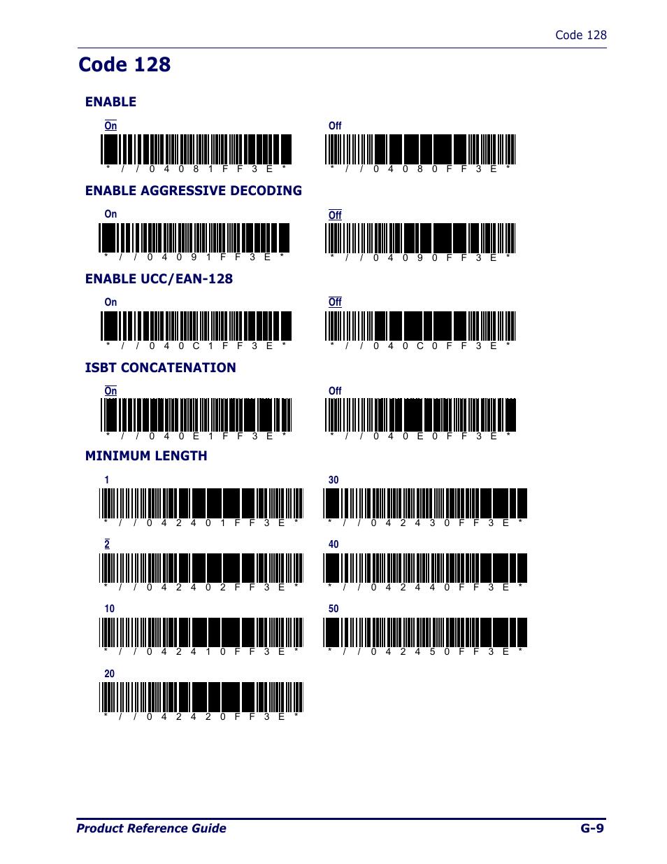 Code 128, Enable, Enable aggressive decoding | Enable ucc/ean-128,