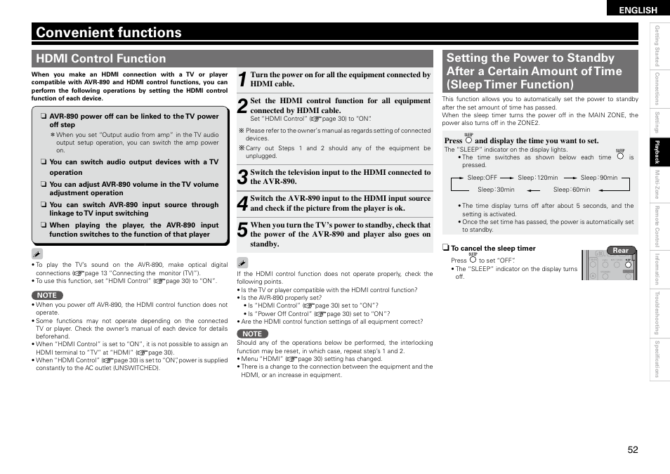 Convenient functions | Denon AVR-890 User Manual | Page 55 / 76