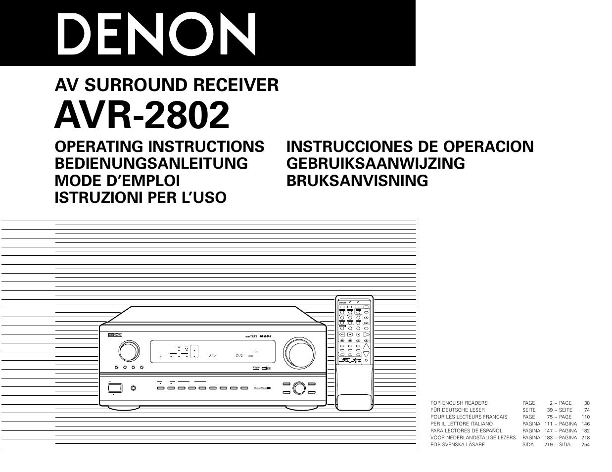 denon avr 2802 user manual 74 pages rh manualsdir com denon avr 2802 user manual pdf denon avr 2802 notice