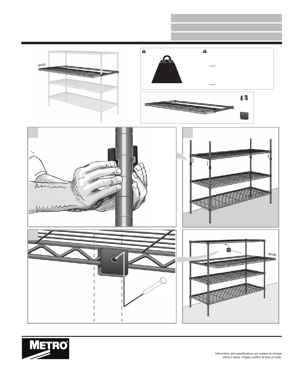 Metro Gliding Shelf User Manual 1 Page Also For Casters