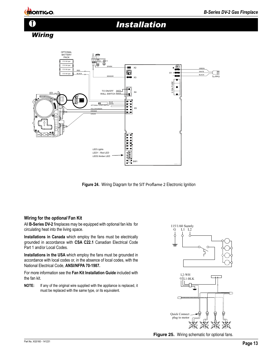 installation, wiring, page 13 b-series dv-2 gas fireplace | montigo b34dv  user manual | page 13 / 26