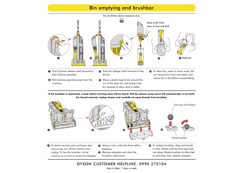 bin emptying and brushbar dyson dc03 user manual page 4 6 rh manualsdir com Dyson DC07 dyson dc03 repair manual