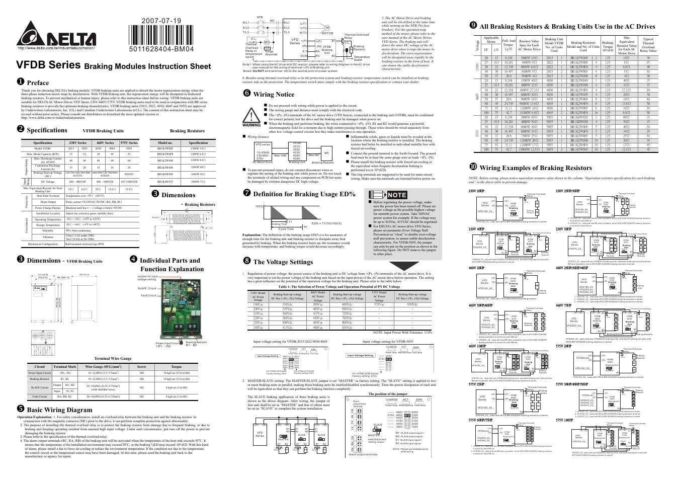Delta Vfd Control Wiring Diagram Library Huanyang Electronics Braking Modules Vfdb Series User Manual 2 Pages