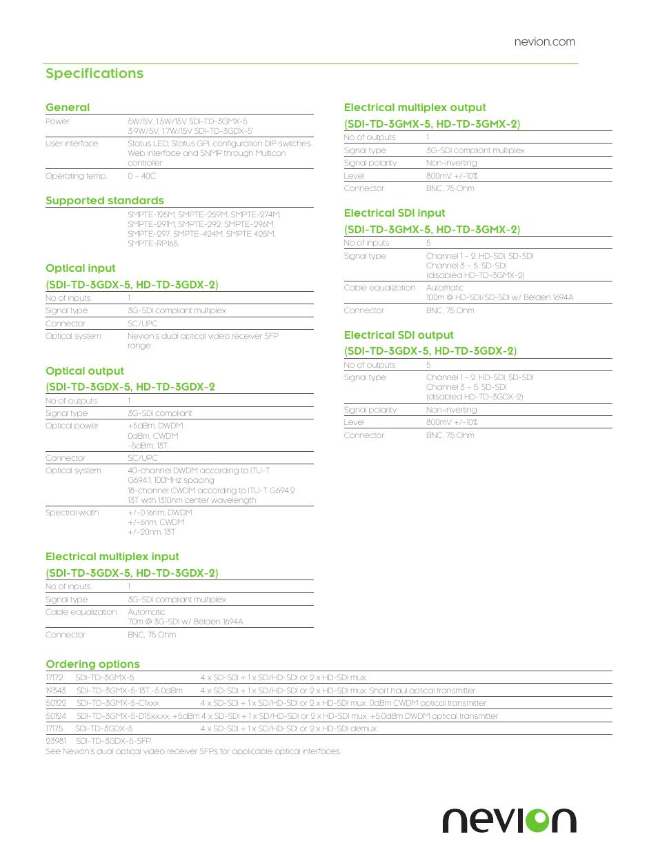 Specifications | Nevion SDI-TD-3GMX-5 User Manual | Page 3 / 4