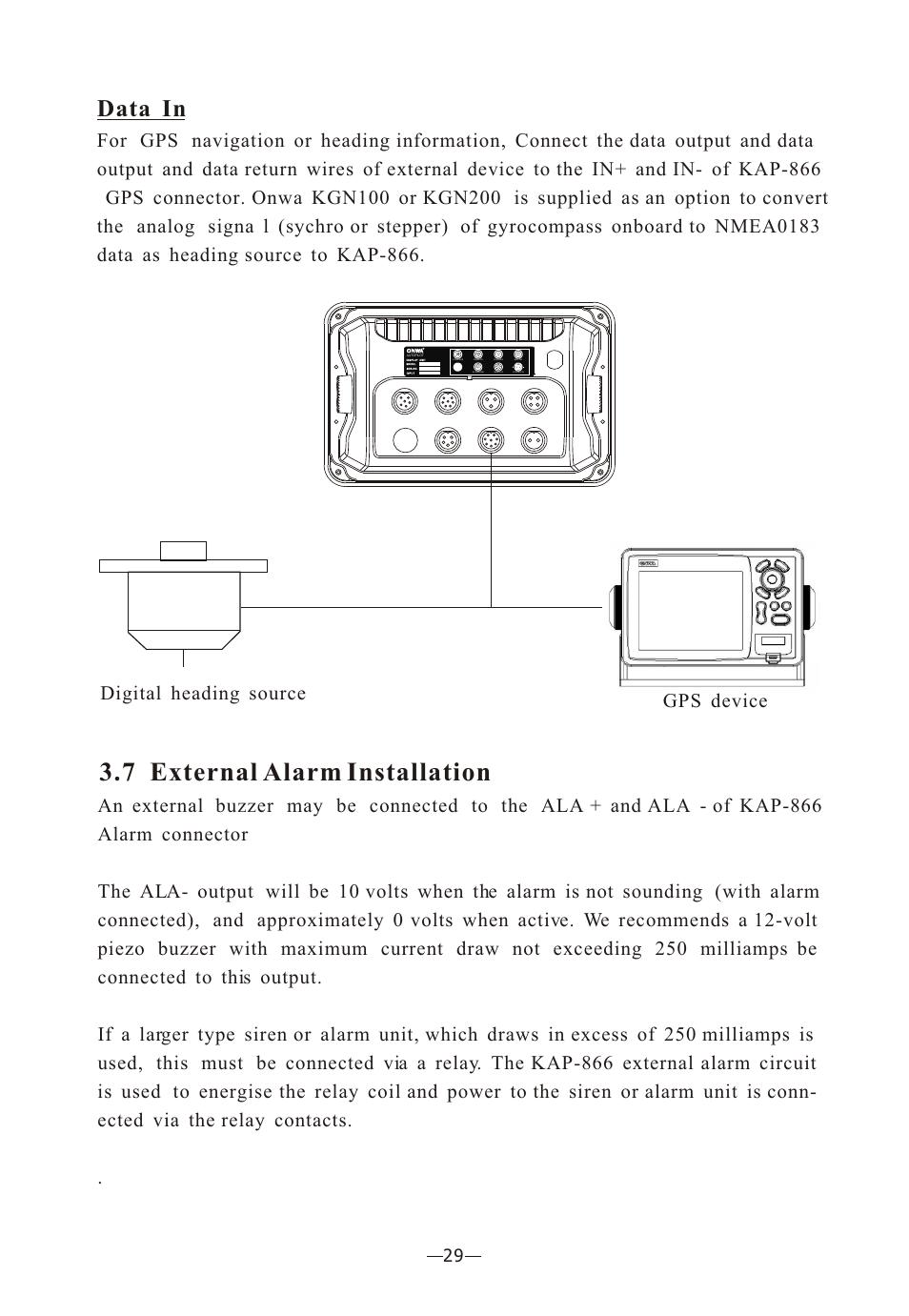 34 7 External Alarm Installation Data In Onwa Marine Piezo Buzzer Circuit Electronics Kap 866 User Manual Page 44