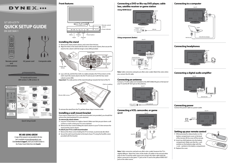 Dynex DX-32E150A11 User Manual | 2 pages