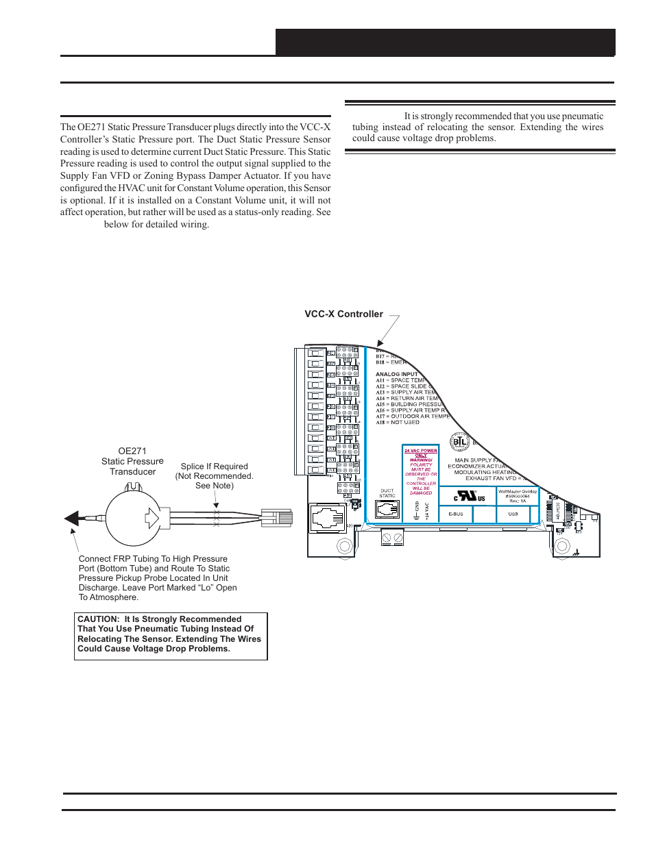 Vcc-x controller wiring, Static pressure transducer wiring | Orion System  VCC-X Controller User Manual | Page 33 / 120