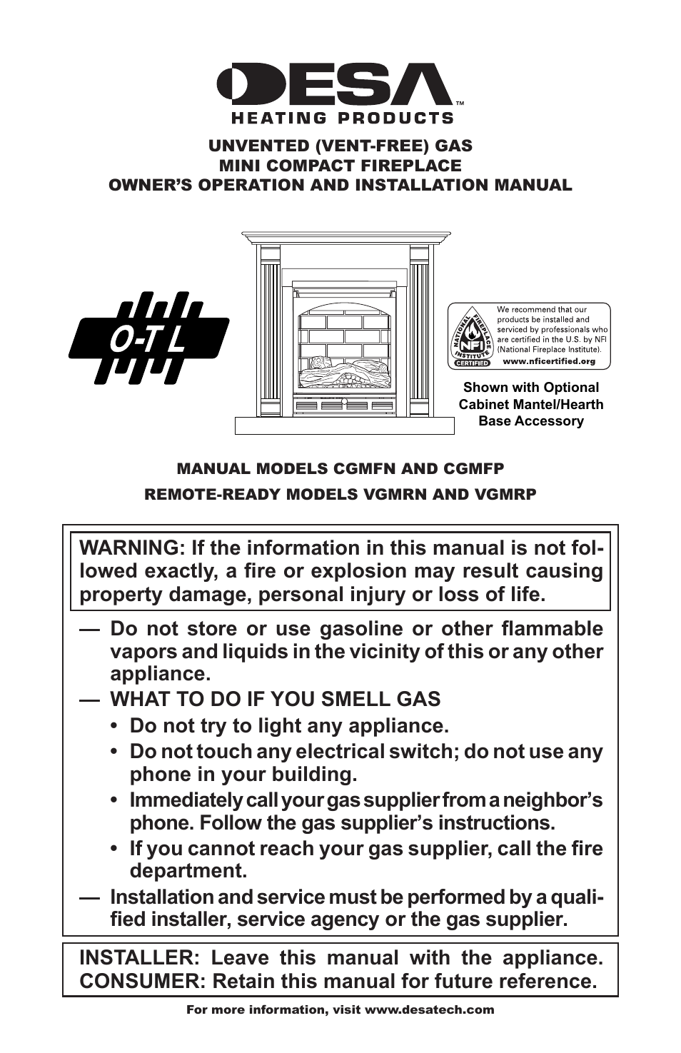 desa cgmfp user manual 36 pages also for cgmfn rh manualsdir com Desa Gas Fireplace Replacement Logs Desa Fireplace Dealers