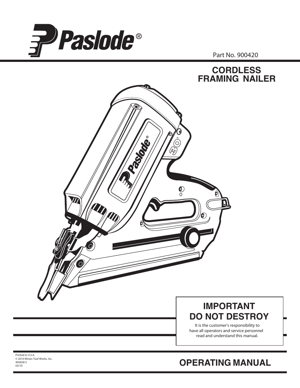 Paslode Imct Cordless Framing Nailer User Manual 20