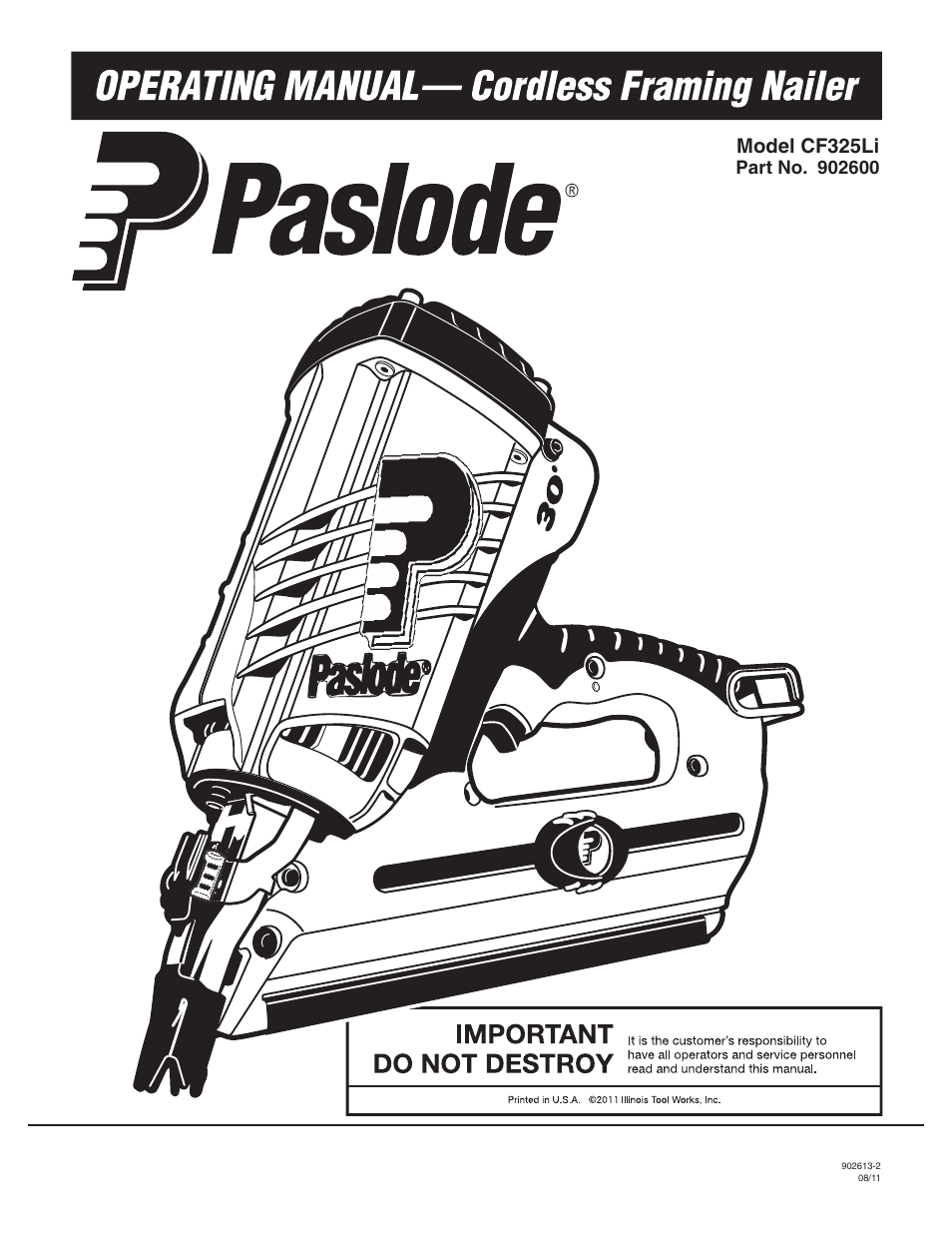 Paslode CF325Li Li-ion Cordless Framing User Manual | 40 pages ...