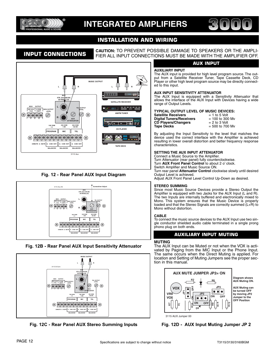 integrated amplifiers installation and wiring input connections rh manualsdir com Headphone with Aux For Car Aux Cord