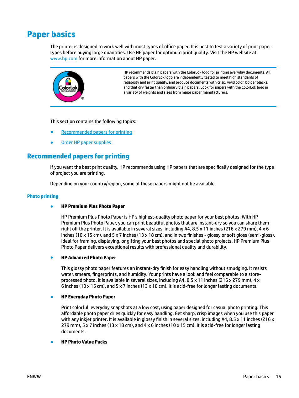 Paper basics, Recommended papers for printing | HP DeskJet ...