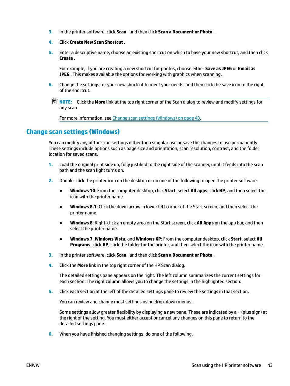 Change scan settings (windows), Tion, see | HP DeskJet ...