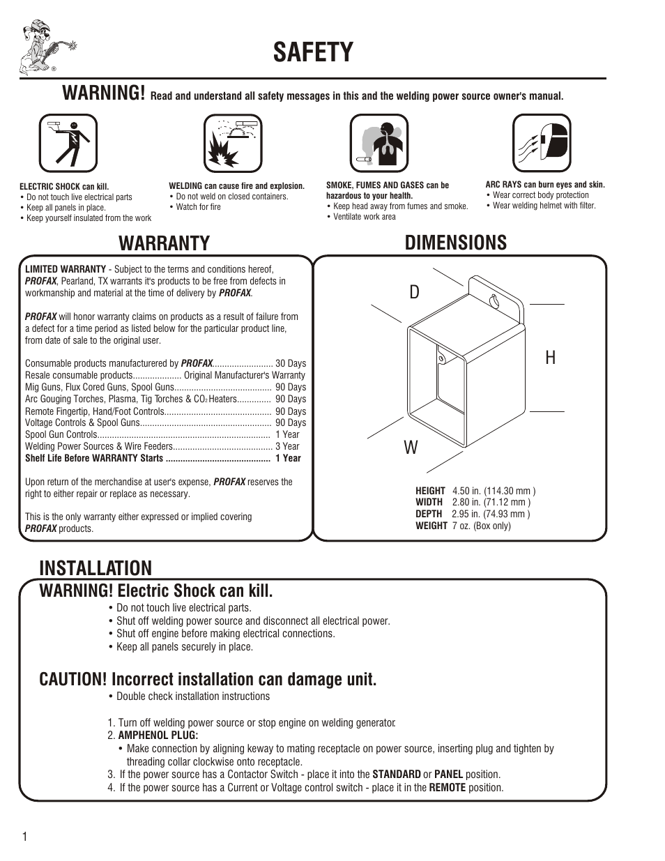 Safety Maintenance Warning Profax Mhc 14 User Manual Page 2 4 Miller 300 Wiring Diagram