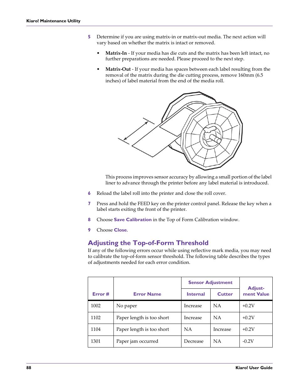 Adjusting the top-of-form threshold   QuickLabel Kiaro! User Manual