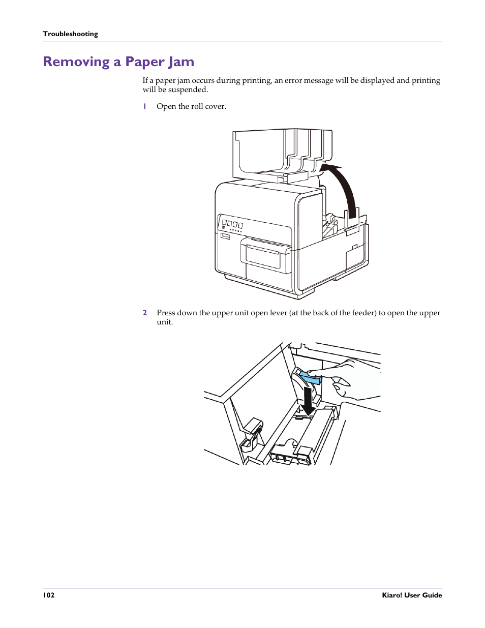 Removing a paper jam | QuickLabel Kiaro! User Manual | Page