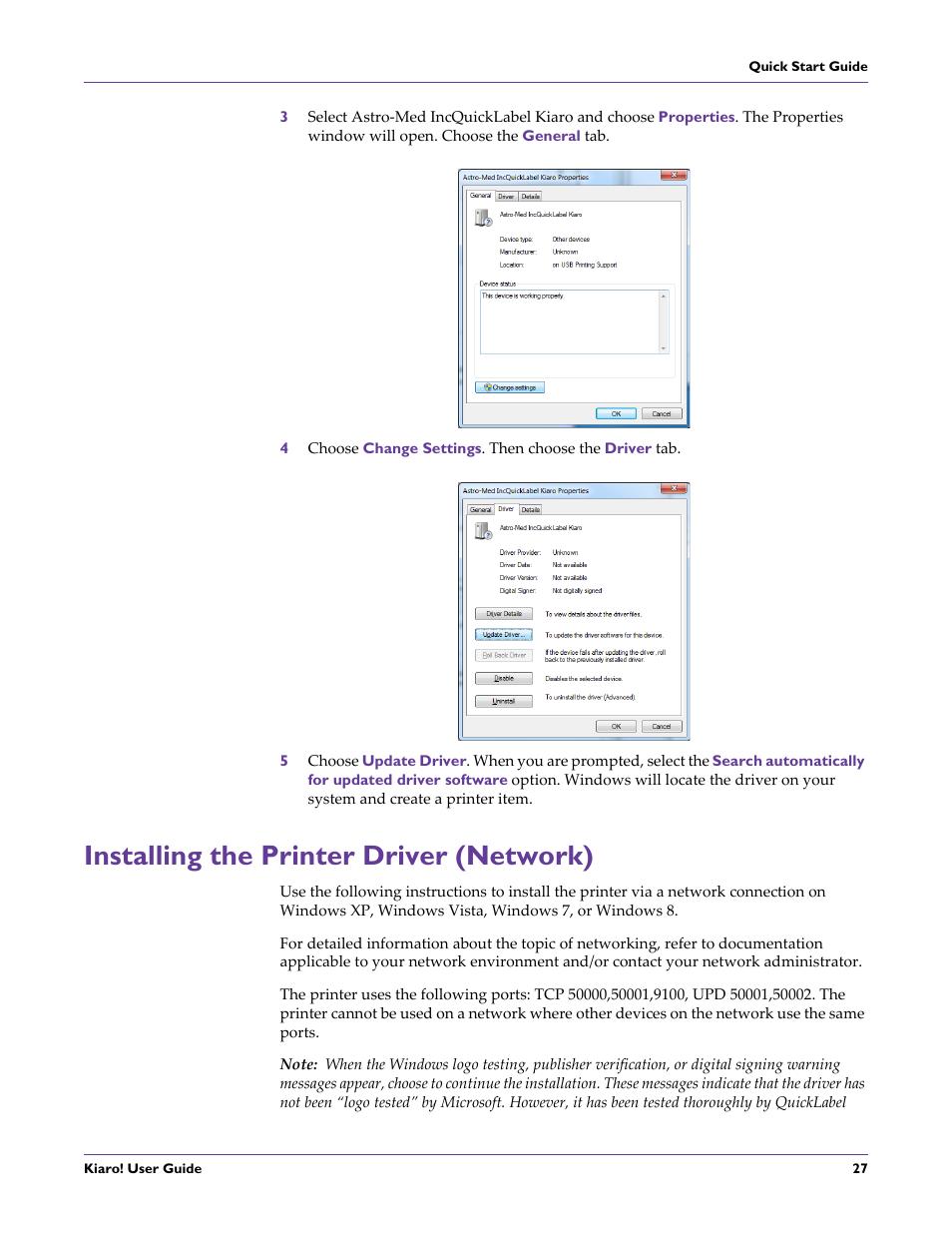 Installing the printer driver (network) | QuickLabel Kiaro! User