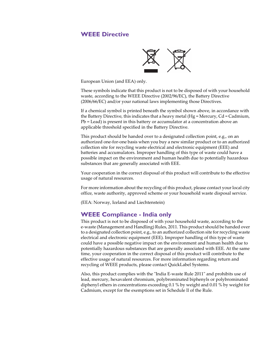 Weee directive, Weee compliance - india only | QuickLabel