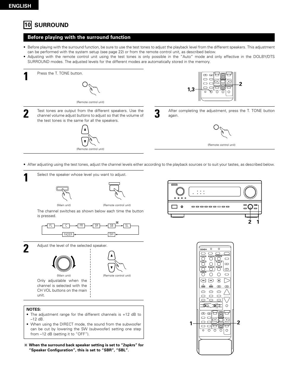 Surround, 42 10 surround, English | Denon AVR-2802/982 User