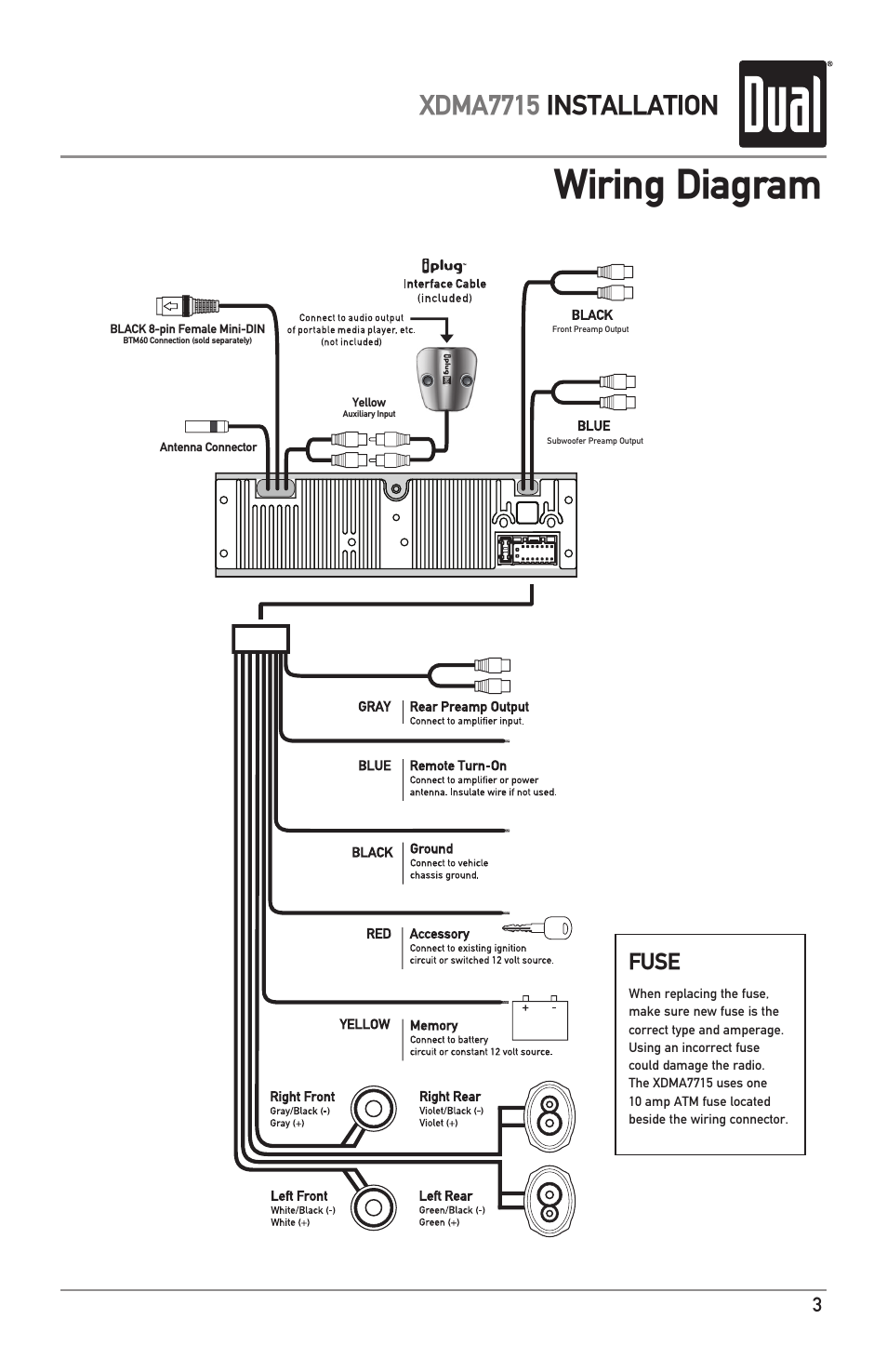 wiring diagram  xdma7715 installation  fuse