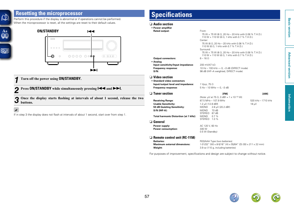 resetting the microprocessor specifications denon avr 1312 user rh manualsdir com denon avr 1312 service manual denon avr-1912 manual