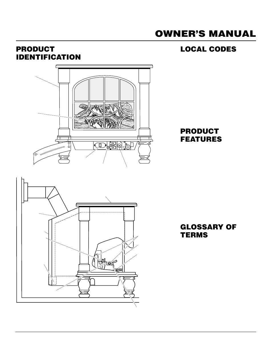 Owner's manual, Product identification, Local codes product features |  Glossary of terms, Operation