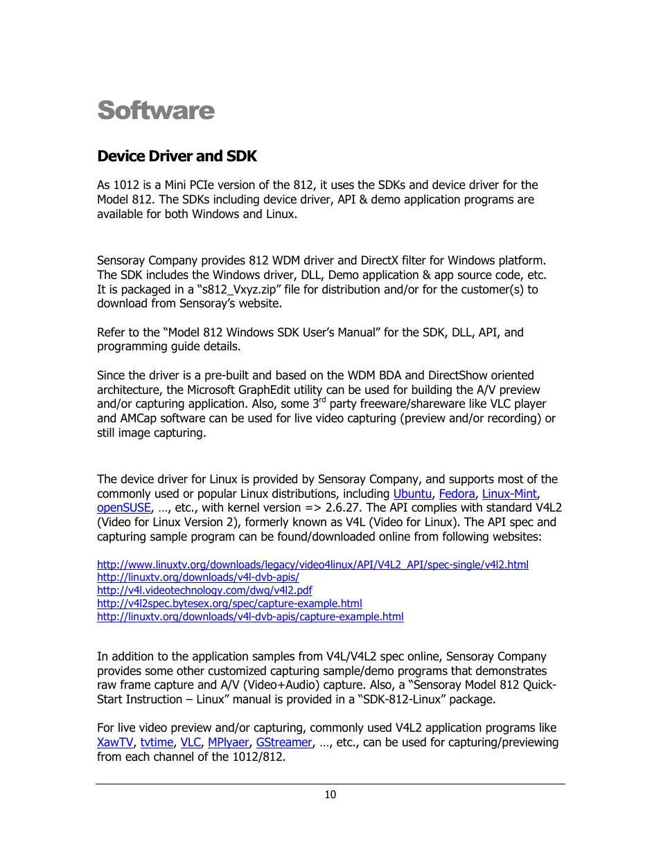 Software, Device driver and sdk | Sensoray 1012 User Manual