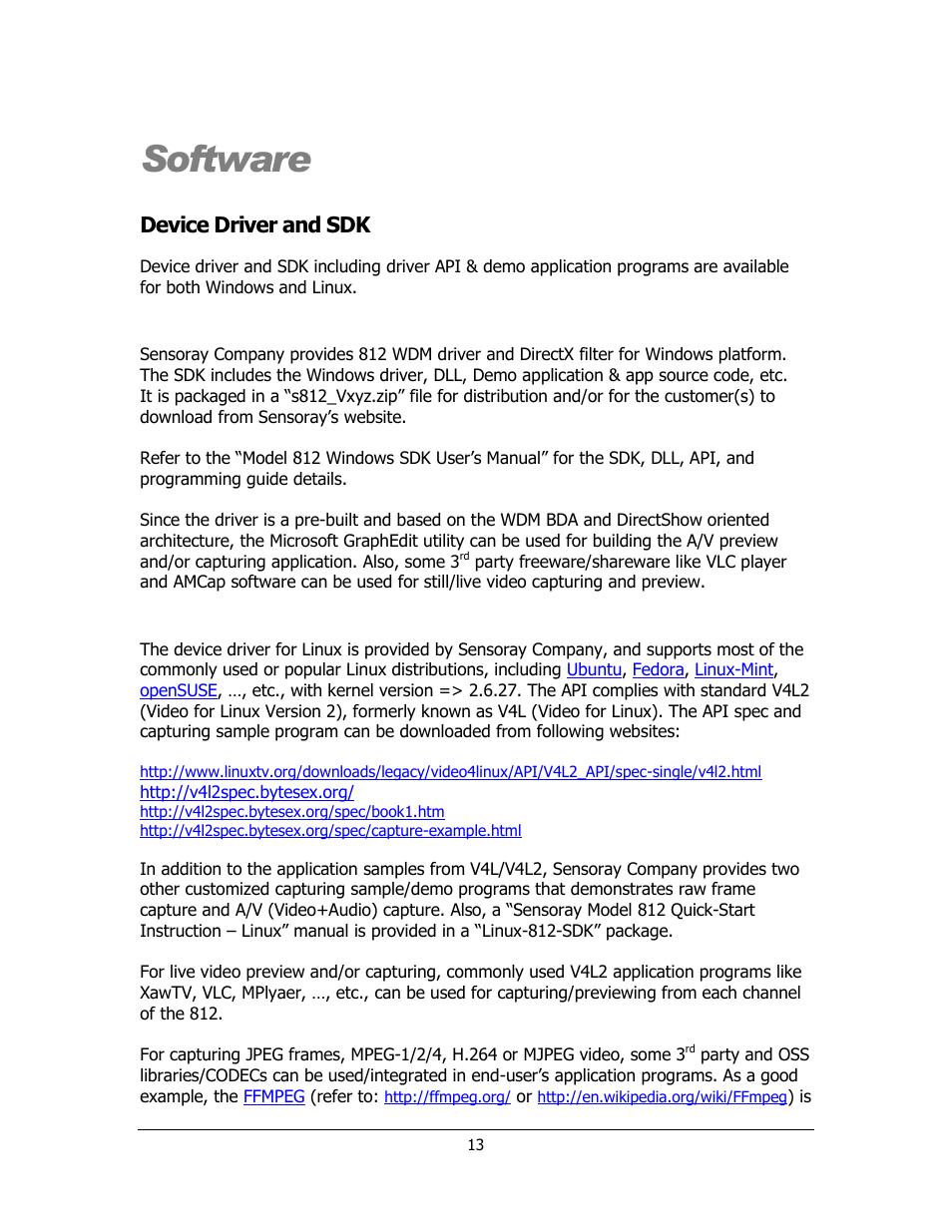 Software, Device driver and sdk, Windows   Sensoray 812 User Manual ...