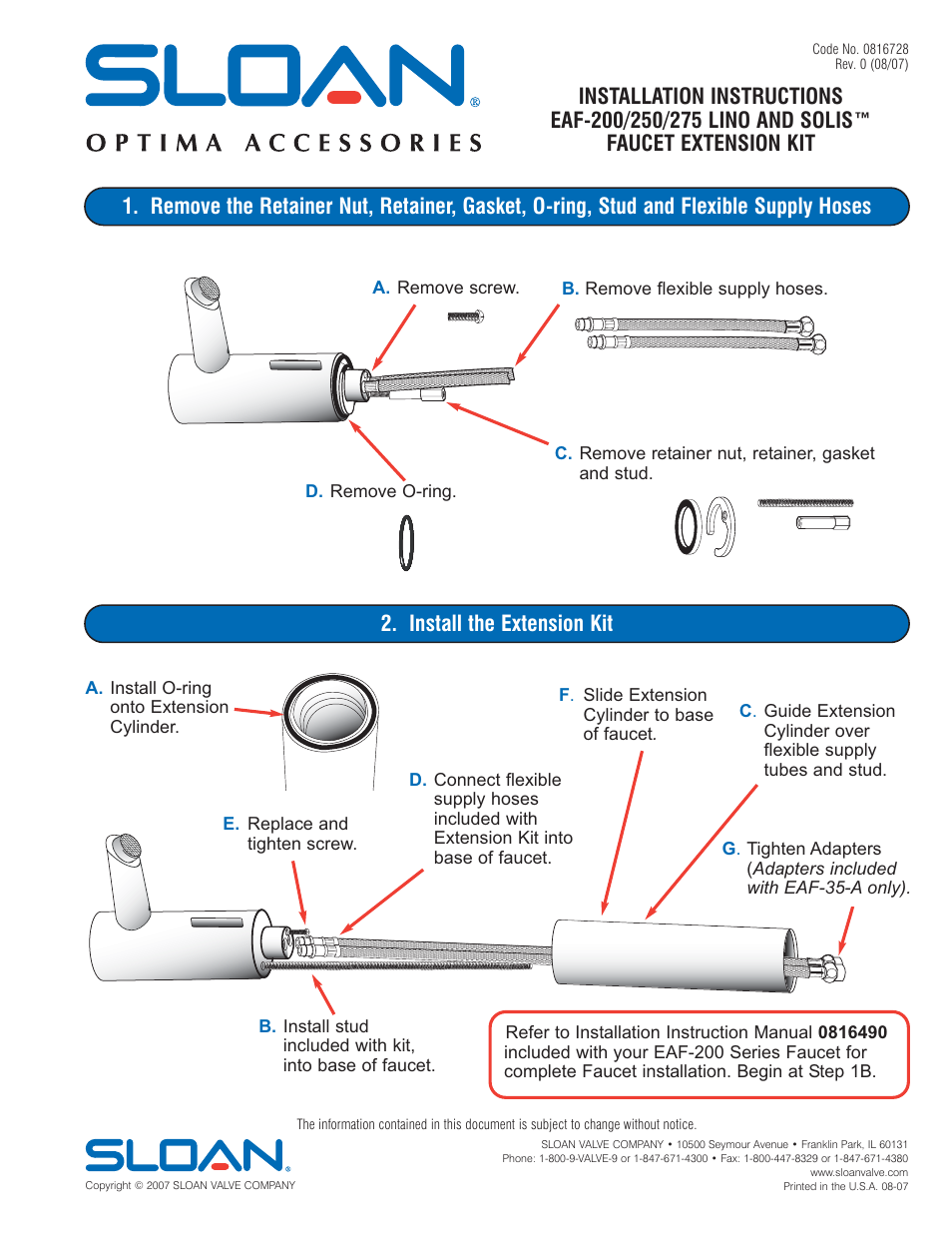 Sloan EAF-200 Series Extension Kit User Manual | 1 page