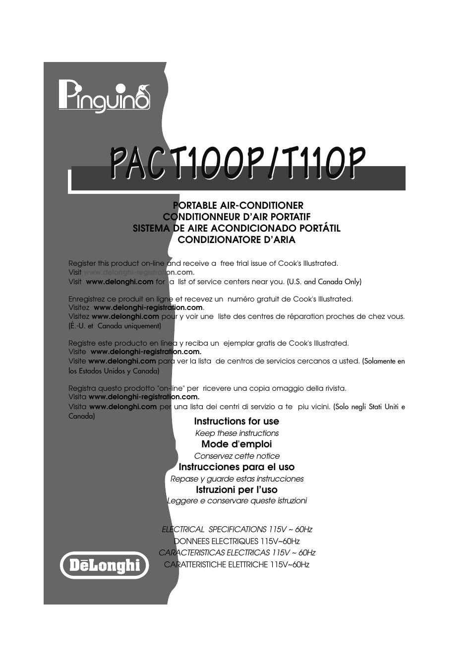 DeLonghi PINGUINO PAC T110P User Manual   19 pages   Also for: PINGUINO PAC  T100P