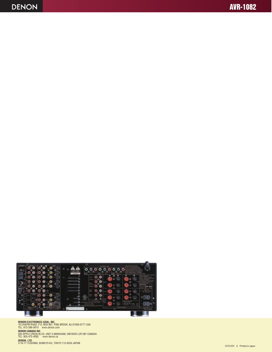Avr-1082 | Denon AVR-1082 User Manual | Page 2 / 2