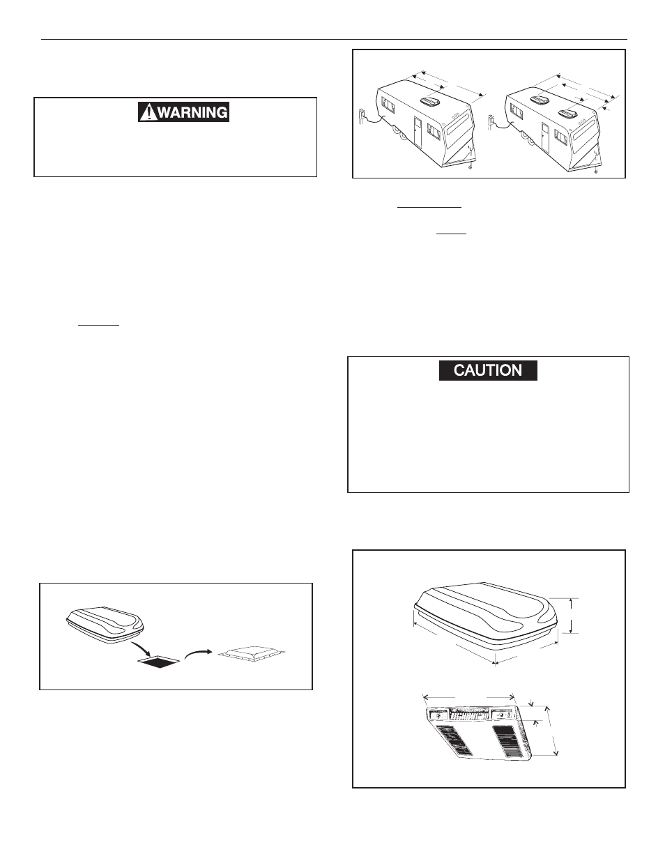 Caution, Installation instructions | Dometic 600315 331 User