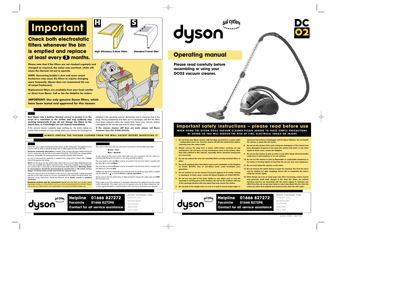 dyson dc02 user manual 2 pages rh manualsdir com Dyson DC04 Dyson DC03
