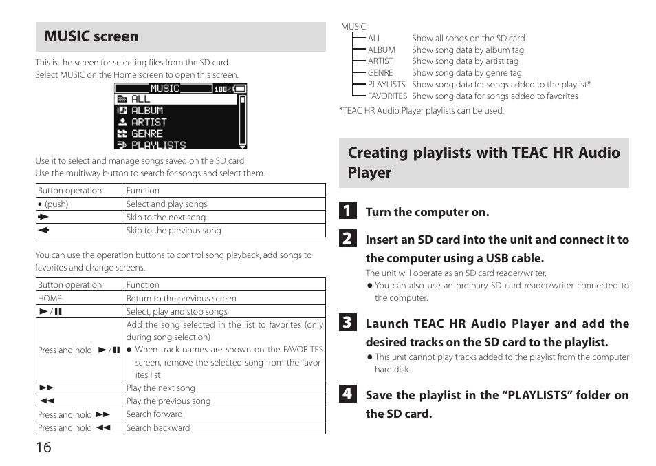 Music screen, Creating playlists with teac hr audio player, 16 music